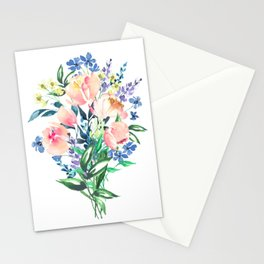 Bouquet flowers, floral aquarelle painting Stationery Cards