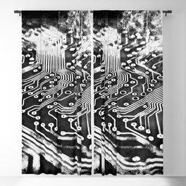platine board conductor tracks splatter watercolor black white Blackout Curtain