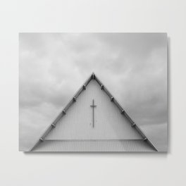 Church With A Cloudy Sky Metal Print