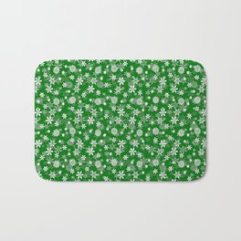 Festive Green and White Christmas Holiday Snowflakes Bath Mat