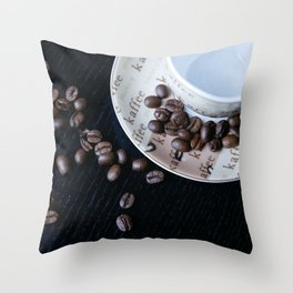 Coffee Cup with coffee Beans Throw Pillow