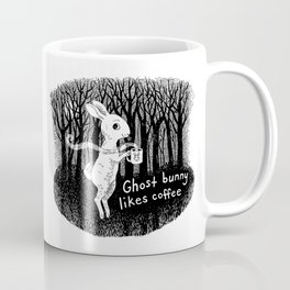Ghost bunny likes coffee Coffee Mug