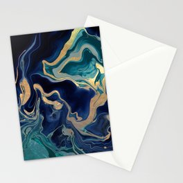 DRAMAQUEEN - GOLD INDIGO MARBLE Stationery Cards