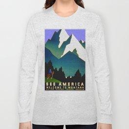 See America Montana - Retro Travel Poster Long Sleeve T-shirt