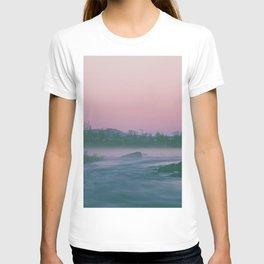 Early morning sunrise, fog over the river  T-shirt