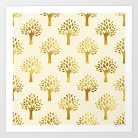 gold foil Art Prints featuring Cream Gold Foil 02 by Aloke Design
