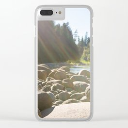 Cairn of stacked rocks along banks of Oregon river Clear iPhone Case