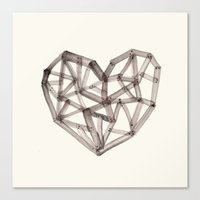 wooden Canvas Prints featuring Wooden Heart by Picomodi