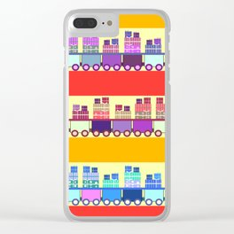 Colorful trains with Christmas gifts Clear iPhone Case
