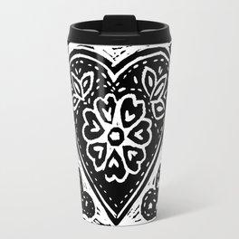 Heart Lino Print made with love Travel Mug