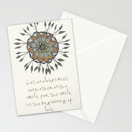 Shamuvel's mandala with a Mother Teresa Quote Stationery Cards