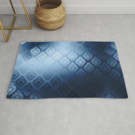 """Navy blue Damask Pattern"" Rug"