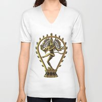 shiva V-neck T-shirts featuring Shiva by Aurapim Vorasopan