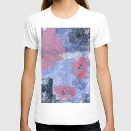pink dahlia and apples: linoprint T-shirt