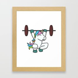 Weightlifting Unicorn fitness gift idea gym weight Framed Art Print