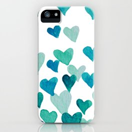 Valentine's Day Watercolor Hearts - turquoise iPhone Case