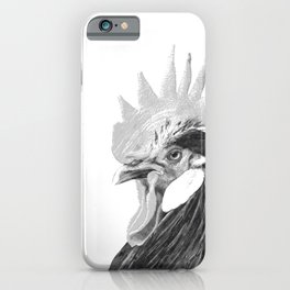 Black and White Rooster iPhone Case