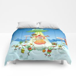 Santa Claus Abducted by a UFO just before Christmas Comforters