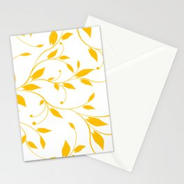FLOWERY VINES | white yellow Stationery Cards