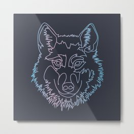 Vector wolf in one line Metal Print
