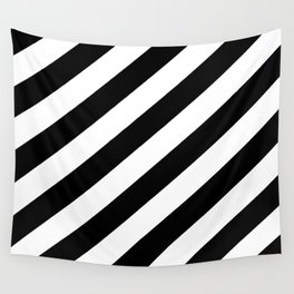 Diagonal Stripes Black & White Wall Tapestry