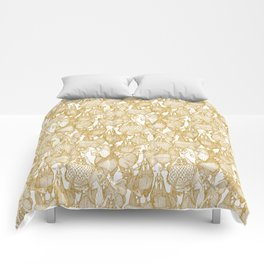 just chickens gold white Comforters