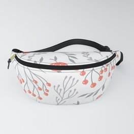 Red Berry Floral Fanny Pack