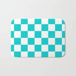 Checkered - White and Cyan Bath Mat