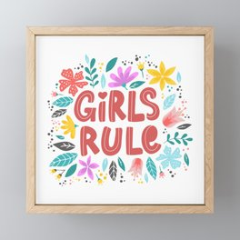 Girl Rule - hand drawn quotes illustration. Funny humor. Life sayings. Framed Mini Art Print