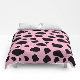 Animal Print (Cow Print), Cow Spots - Pink Black Comforters