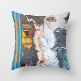 Few flowers as a tribute to the Loukanikos dog from Elisavet Throw Pillow