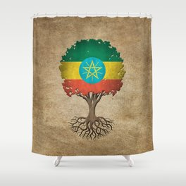 Vintage Tree of Life with Flag of Ethiopia Shower Curtain