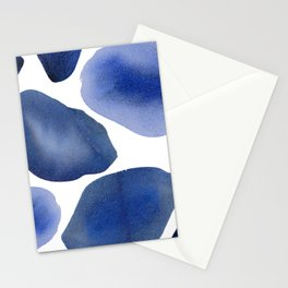 Watercolor Pebble Modern Texture Rock Blue Stationery Cards