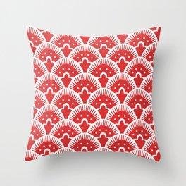 Fan Pattern Red 201 Throw Pillow
