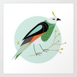 Little Birdy Portrait - Mint Art Print