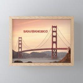 Golden Gate Bridge San Francisco With City Name Framed Mini Art Print