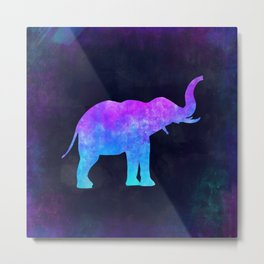 ELEPHANT IN SPACE // Animal Graphic Art // Watercolor Canvas Painting // Modern Minimal Cute Metal Print
