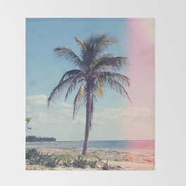 Palm Tree Light Leak Color Nature Photography Throw Blanket