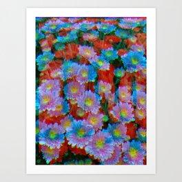 Daisies, Abstract Digital Art Pattern Art Print