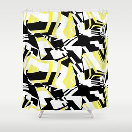 Yellow Prickly Scraps Shower Curtain