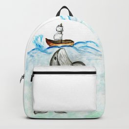 Cute whale and boat watercolor Backpack