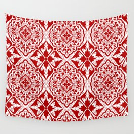 BOHEMIAN PALACE, ORNATE DAMASK: RED and WHITE Wall Tapestry