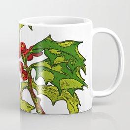 Black Outline Art Of Christmas Holly Coffee Mug