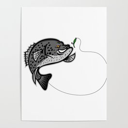 Crappie Jumping For A Bait Mascot Poster