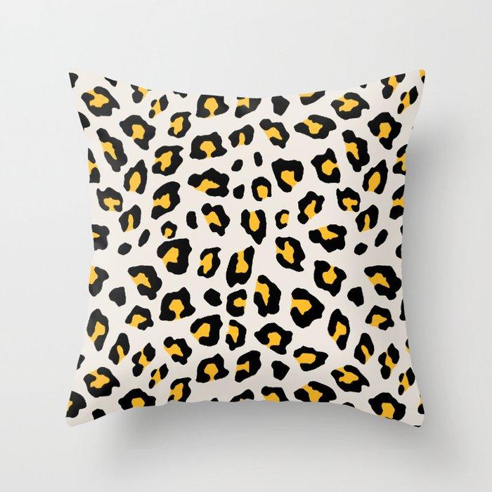 Leopard Print Mustard Yellow Throw Pillow