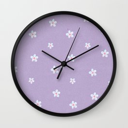 Modern lavender teal pink hand painted floral Wall Clock