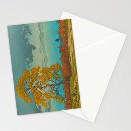Vintage Japanese Woodblock Print Autumn Japanese Landscape Field Tall Tree Stationery Cards