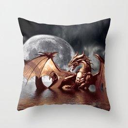 Mystical Dragon and Moon Fantasy Design Throw Pillow