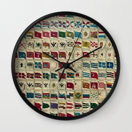 Vintage Naval Flags of The World Illustration Wall Clock