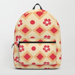Abstract Retro Seventies Red Diamond Floral Pattern Backpack